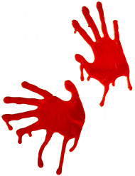 Blutige Hände Halloween Fensterdeko Set 2-teilig rot 18,5x7,5cm