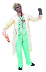 Zombie Chirurg Halloween-Kostüm weiss-grün