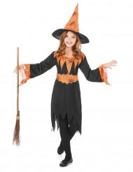 Gewitzte Hexe Halloween-Kinderkostüm schwarz-orange