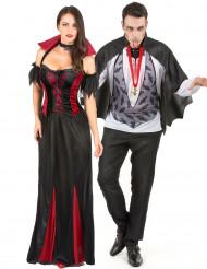 Halloween Vampir Paarkostüm weiss-schwarz-rot