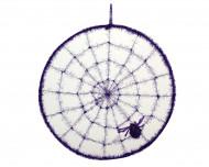 Deko-Spinnennetz mit Spinne lila