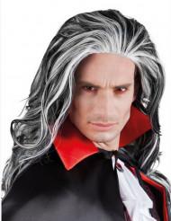 Gothic Vampir Halloween Langhaar-Perücke grau-schwarz