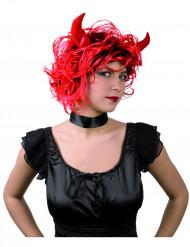 Teufelinnen-Perücke mit Hörnern Halloween Kostümaccessoire rot-schwarz