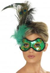 Venezianische Augenmaske Pfauenfedern grün-gold