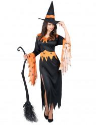 Freche Hexe Damenkostüm Magierin schwarz-orange
