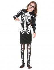 Kleines Skelettmädchen Halloween-Kinderkostüm schwarz-weiss