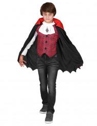 Edler Vampir Halloween-Kinderkostüm rot-schwarz-weiss