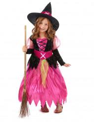 Hexenkostüm Halloween-Mädchenkostüm im Zackenschnitt pink-schwarz