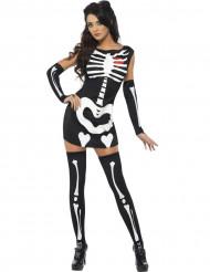 Skelettfrau Halloween Damenkostüm schwarz-weiss