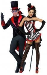 Vampir-Paarkostüm für Damen und Herren Halloweenkostüm-Set schwarz-rot-weiss