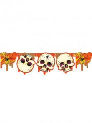 Girlande Totenkopf Skull Halloween-Party Deko orange-schwarz-weiss 180x18cm