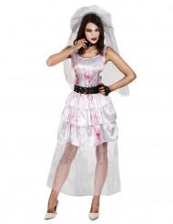 Zombiebraut Halloween Damenkostüm weiss-rot