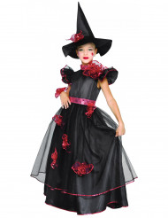 Verziertes Hexen-Kinderkostüm schwarz-rot