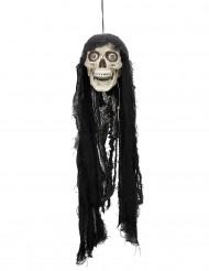 Animierter Totenschädel mit Kopftuch weiss-schwarz 70cm