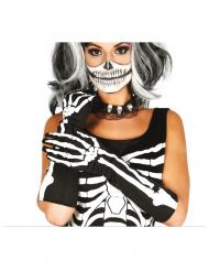 Skelett Handschuhe lang schwarz-weiss