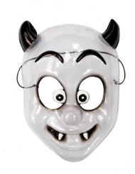 Lustige Vampir-Kindermaske weiss-schwarz