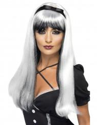 Hexe Gothic Perücke lang silber-schwarz