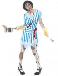 Zombie Hausfrau Halloween Damenkostüm blau-weiss