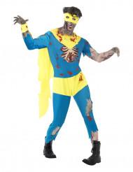 Zombie Horror Superheld Halloween Kostüm blau-gelb