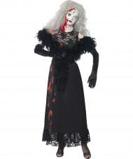 Gothic Horror-Puppe Halloween Damenkostüm schwarz-grau