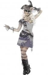 Zombie Gothic Geister Piratin Halloween Damenkostüm grau-blau