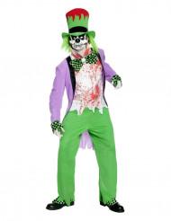 Blutverschmierter böser Horror-Clown Skelett Halloween Kostüm grün-weiss-lila