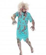 Zombie Horror Patient Halloween Kostüm türkis-rot