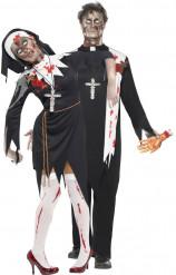Zombiepriester-Paarkostüm Halloweenkostüm für Paare schwarz-weiss-rot