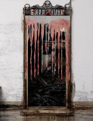 Blutiger Fetzenvorhang Halloween-Deko weiss-rot 97x137cm