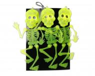 Neonskelette Halloween-Wanddeko 3 Stück grün