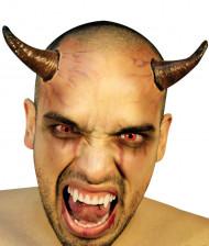 Teufels-Hörner auf Haarreif Halloween Kostümaccessoire braun-gold