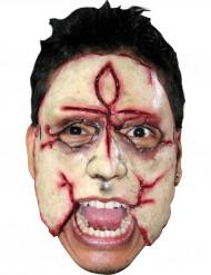 Irrer Mörder Halloween-Latexmaske beige-rot
