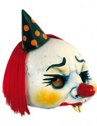 Gruseliger Clown Halloween-Halbmaske weiss-bunt