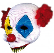 Horrorclown-Halbmaske Halloween-Latexmaske weiss-bunt