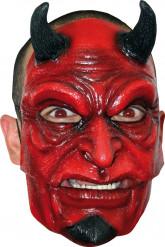 Teuflischer Dämon Halloweenmaske mit Hörnern schwarz-rot