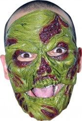 Zombie Maske Halloween Kostümaccessoire grün-rot
