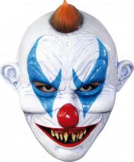 Teuflische Horrorclown-Maske weiss-blau-rot