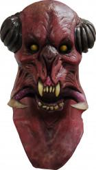 Gruselige Monster-Maske Halloween rot-schwarz-beige