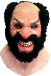 Brutaler Mann mit Bart Halloween-Maske hautfarbe-schwarz