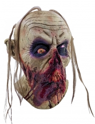 Blutiger Zombie Halloween-Latexmaske gelb-rot-schwarz