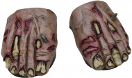 Zombie Füße Überschuhe Halloween Kostümaccessoire grün-rot