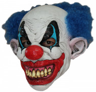 Bösartiger Clown Horrorclown-Maske weiss-blau-rot
