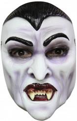 Blutrünstiger Vampir Halloween Latexmaske grau-schwarz