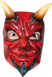 Teufel Halloween Latexmaske rot-schwarz