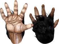 Gorilla Handschuhe für Erwachsene Halloween braun-schwarz