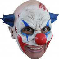 3/4 Monsterclown-Maske Horrorclown-Latexmaske weiss-blau-rot