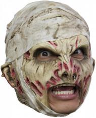 Mumie Latex-Maske Horroraccessoire grün-rot-grau