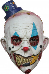 Gruseliger Horror-Clown mit Hut Halloween-Latexmaske weiss-bunt