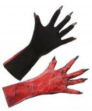 Teufel Handschuhe mit Fingernägeln Kostümaccessoire rot