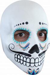 Dia de los Muertos Sugar Skull-Maske mit Bart bunt